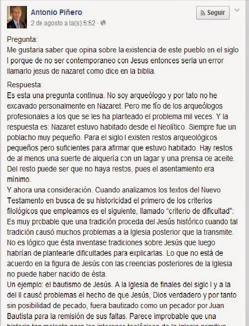 Comentario del Facebook de Piñero, donde da su posición sobre la existencia de Nazaret
